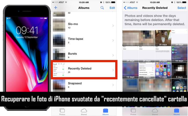 Ripristina le foto cancellate dalla cartella eliminata di recente su iPhone