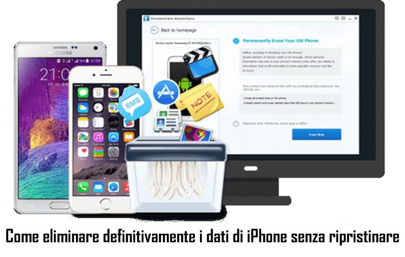Come eliminare definitivamente i dati di iPhone senza ripristinare